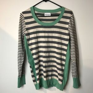 Olive and oak color block stripped light sweater